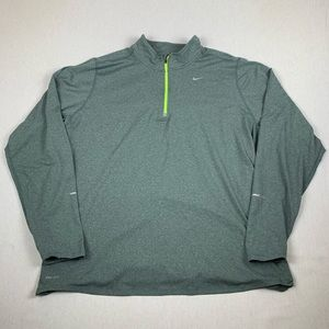 Nike Dri Fit Running Grey Volt Long Sleeve Shirt